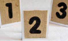 Simple Burlap Table Numbers