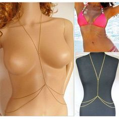 Barato Praia colar Womens Sexy Bikini Crossover Harness cintura barriga corpo corrente de ouro, Compro Qualidade Colares com pingente diretamente de fornecedores da China:                                                                                        Descrições: