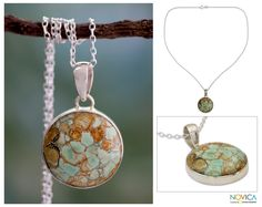 Variscite Necklace Sterling Silver Jewelry from India - World of Beauty | NOVICA