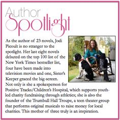 This week's Author Spotlight: Jodi Picoult. With so many great novels to choose from, which would you recommend?  #AuthorSpotlight #JodiPicoult #BestSellingAuthor #Inspiration