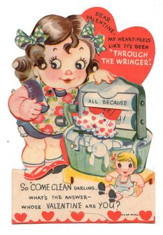 vintage Valentine featuring an old fashioned wringer washer