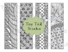 Set of 4 Adult Coloring Zentangle Bookmarks - Print and Color - Instant Digital Download by TinyTrollStudios on Etsy