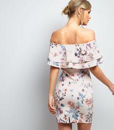 Pink Floral Print Layered Frill Bardot Neck Dress    New Look