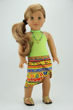 American Girl doll clothes - Green and tropical print 3 piece outfit (414tropical)