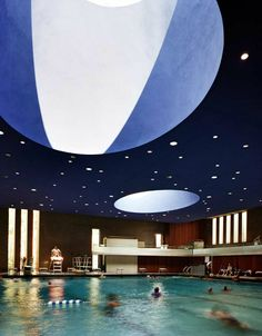 Cranbrook Natatorium // Bloomfield Hills, Michigan // a swimming pool with a roof that opens to the night sky for night swims by starlight
