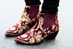 Fall must have: LOW-HEELED BOOTIE.  A western bootie in a brocade has a certain opulence!