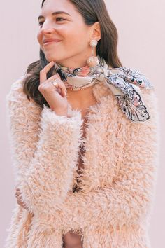 Statement Earrings: Vintage Blush Sequin Bon Bon Clip-on Earrings from Sweet & Spark Pink Fuzzy Jacket, Pink Faux Fur Coat, White Tee Shirts, White Tees, Fall Fashion Outfits, Autumn Fashion, Capsule Wardrobe Work, Vintage Costumes, Scarf Styles