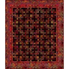 In The Beginning Fabrics Tapestry Red Quilt Kit Red