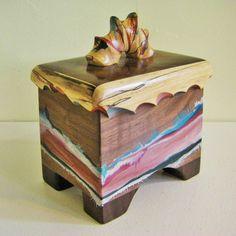 Wood Box. 5th Anniversary, Walnut Keepsake, Unique Box, One Of A Kind