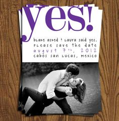 She Said Yes Collection Save The Date Cards by olivepresspaper, $12.50
