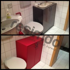 #Badezimmer #renovieren #rot #Möbel #Folie #upcycling #schönerwohnen  #interior · UpcyclingRedDo It Yourself