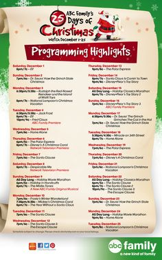 25 Days of Christmas programming guide highlights!