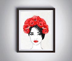 Red poppies wall art Fashion wall decor by InstantDownloadArt1
