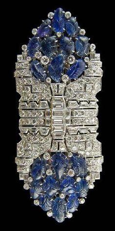 Art Deco Platinum Double Clip Diamond  Sapphire Pin.