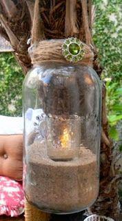 Twine and Mason Jar Outdoor Lighting