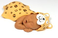 Baby Cake Topper with Leopard Blanket