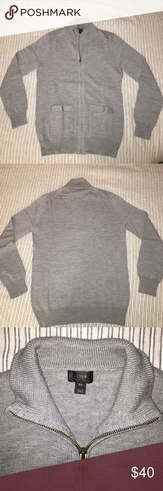 NWOT J. Crew Gray Merino Wool Sweater-Jacket This is a new without tags full zip sweater-jacket from J. Crew. Woven from a mid-weight merino wool and featuring two external pockets, it is the perfect layer for fall and winter weather. Dry Clean Only. J. Crew Sweaters Zip Up