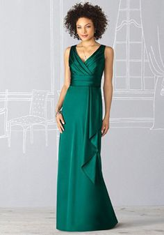 Empire Waist Sexy Column Satin Side Draping  Bridesmaid Dress picture 1