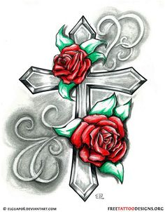 cross with rose tattoo designs ideas Cross Tattoo Designs, Flower Tattoo Designs, Cross Designs, Tattoo Sketch, Tattoo Drawings, Rose Tattoos, Body Art Tattoos, Sexy Tattoos, Girl Tattoos