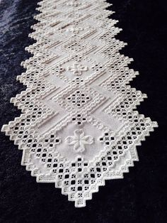 Hardanger Table Runner, White on White