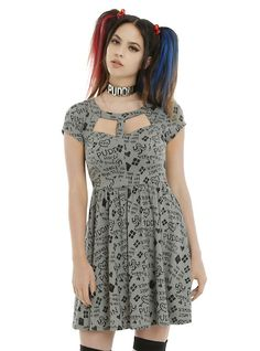 DC Comics Suicide Squad Harley Quinn Relationship Dress, GREY