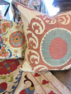 One-of-a-kind vintage Uzbek Suazni pillows at Celadon! www.celadonathome.com