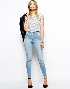 8bd597ad33965 Ridley Skinny Ankle Grazer Jeans in Watercolour Light Wash Blue with Ripped  Knees