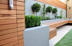 Bespoke Storgae In Hardwood Slats Raised Beds Render Block Walls Bench Garden Designer London Pool Bed Onto Deck