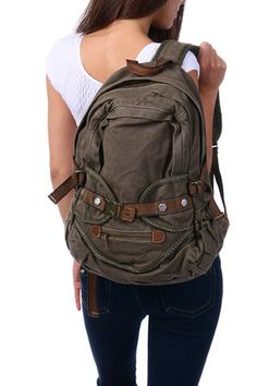 Vintage Heavy Duty Canvas School Backpack