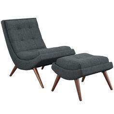 Ramp Fabric Lounge Chair Set Gray