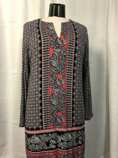 NWOT J JILL WEAREVER COLLECTION XS PETITE Red//Black Printed Stretch Dress