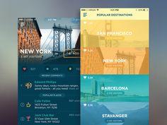 Traveller app -- ludmila shevchenko, tubik studio, visual, colors, clean
