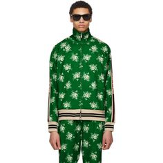 Floral-print Web-trimmed jersey track top Gucci YctVYP1