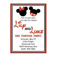 TWINS MICKEY and MINNIE Birthday Party by owlalwaysloveuprints, $7.00