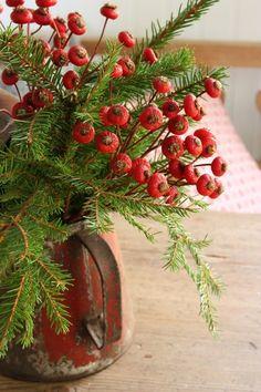 greenery + berries in rustic pitcher