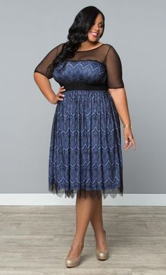 Vintage Dream Cocktail Dress - Pretty Periwinkle / Black from www.curvaliciousclothes.com