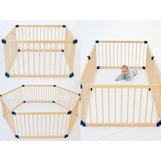 Adjustable 6 Panel Baby Playpen Natural Timber 1.1m | Buy Baby Safety