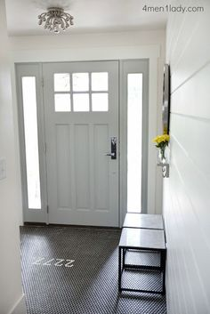 Love this fun entry way with number in the tiles...also love the not traditional tiles. Her blog tells you how she did a big reno and saved a lot of mullah in the process