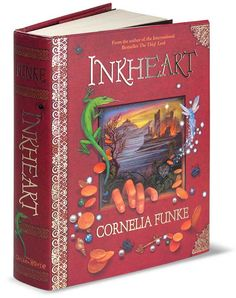 Inheart-Cornelia Funke   the first book in the inkheart series.   meggie finds out that she has a gift similar to Silvertounges(Mortimer Folchart;bluejay;Mo. meggie reads many things out of books for Capricorn. the two most important things...the shadow and her soon to be lover ; farid <3 but then Capricron dies PRAISE DA LORRDDD sorry for da spoilers :x