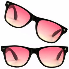 e8788ac1f0b 2 Pairs of Retro Horned Black Wayfarer Pink Lens Summer Trendy Love  Sunglasses  Round Round