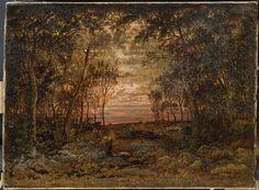 Sunset In The Forest  Theodore Rousseau  Original Title: Coucher de soleil dans la foret  Date: 1866