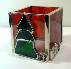 Items similar to Vintage Stained Glass Christmas Tree Votive Candle Holder - with box on Etsy Making Stained Glass, Custom Stained Glass, Stained Glass Lamps, Stained Glass Designs, Stained Glass Projects, Stained Glass Patterns, Leaded Glass, Glass Christmas Decorations, Stained Glass Christmas