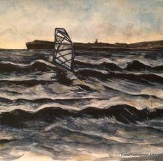 Windsurfers, Lahinch Seaside Village, World Famous, Watercolour Painting, Landscape Paintings, Original Paintings, Surfing, Beach, Artist, Surf