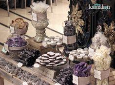 www.kamalion.com.mx - Mesa de Dulces / Candy Bar / Postres / Vintage / Rustic / Wedding / Boda / Morado & Gris / Gray & Purple.