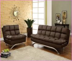 Aristo II dark brown Finish Leatherette Futon Sofa with Chrome Finish Support Legs. Futon Sofa measures x x Futon Bed measures x 46 x Some Assembly Required. Futon Mattress, Futon Sofa, Sleeper Sofas, Couches, Living Room Sofa, Living Spaces, Bedroom Furniture, Furniture Design, Colorful Couch