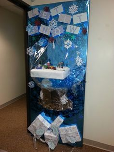 Snow globe for door decorating contest at the office