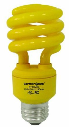 """EarthTronics CF13BG1B 13-Watt Spiral Compact T3 Florescent Light Bulb, Bug Yellow, 12-Pack by Earth. $59.20. From the Manufacturer      Your choice of lighting in your home matters. Lighting represents a significant portion of the electrical energy used within your home. """"Bug Yellow"""" compact fluorescents repels bugs. Great for porch light fixtures as an aid in keeping pests from gathering near entry way doors. Mix it with other colored EarthBulbs for a real """"fe..."""