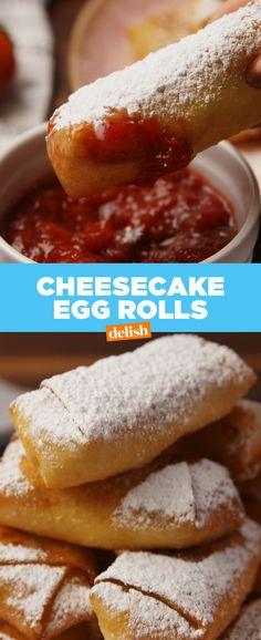 Cheesecake Egg Rolls is part of Egg roll recipes You& never had cheesecake like this recipe from Delish com before - How To Make Cheesecake, Best Cheesecake, Cheesecake Recipes, Fried Cheesecake, American Cheesecake, Köstliche Desserts, Delicious Desserts, Dessert Recipes, Yummy Food