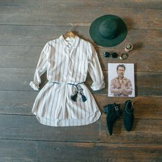 Vertical stripe button dress & Brixton count hat. In store & online here: www.oliveclothing.com