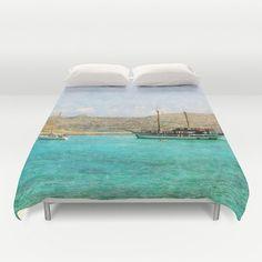 Art Duvet Cover At Sea 1 photography home decor photograph photo bedding full queen king bedroom texture ocean aqua sky blue nautical ship